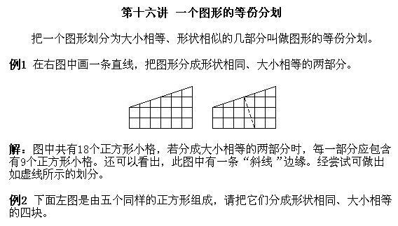 一年级奥数讲义上 一个图形的等份分划